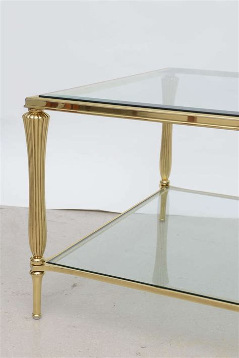 Antique Brass And Glass Coffee Table Vintage Brass And Glass Regency Style Coffee Table At 1stdibs