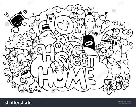 doodle monsters vector free home sweet home stock vector 598752956