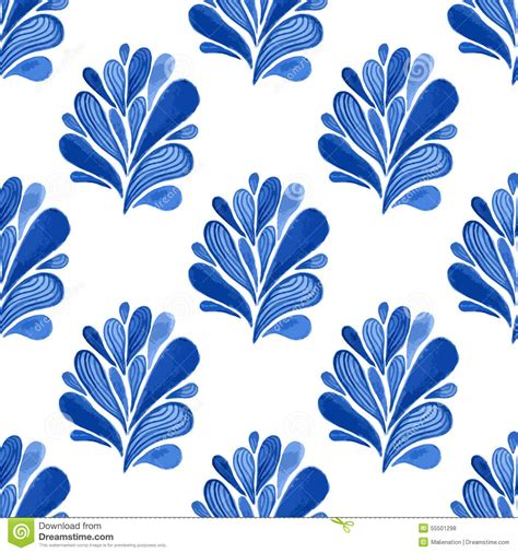 Upholstery Design by Watercolor Blue Floral Seamless Pattern With Leaves