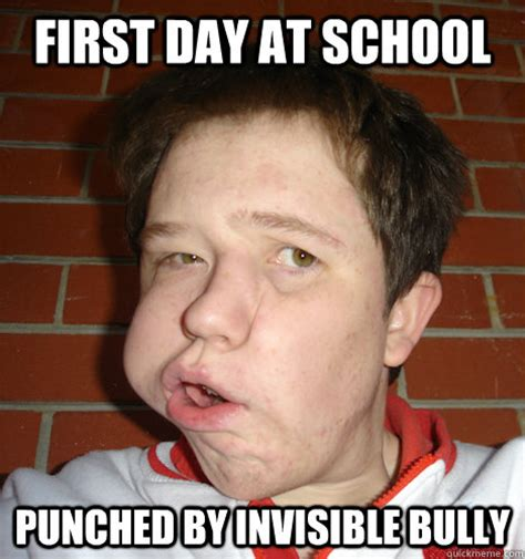 Weird Girl Meme - first day at school punched by invisible bully weird