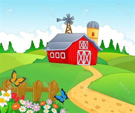 scheune comic best free farm background stock vector design