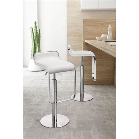 White Bar Height Bar Stools by Zuo Adjustable Height White Bar Stool 301113 The Home Depot
