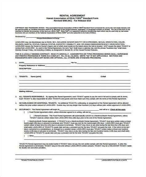 7 generic rental agreement form sles free sle