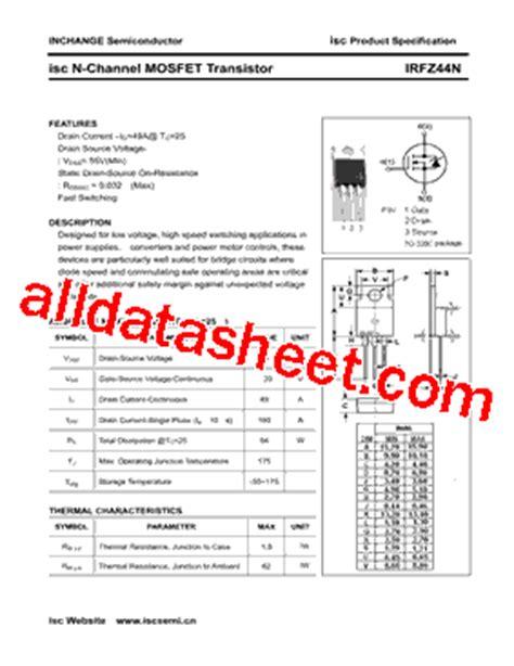 irfz44n datasheet pdf inchange semiconductor company limited