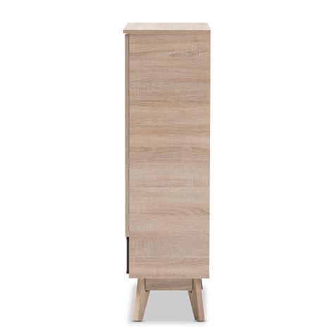 mid century shoe cabinet baxton studio fella mid century modern two tone oak and