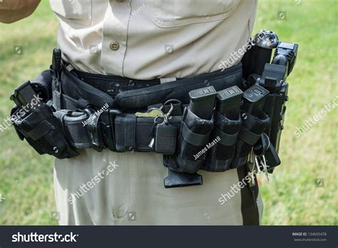 tactical tools and equipment officers heavy tactical belt holds stock photo