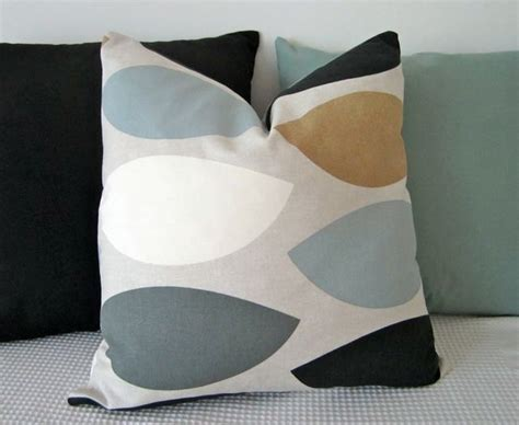 Cushion Cover Sarung Bantal Geometric Blue Brown geometric retro duck egg blue brown black and grey cushion cover contemporary designer fabric