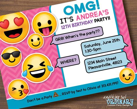 emoji birthday card template emoji invitations printable free