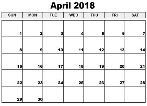 Blank April 2018 Calendar Template Printable Calendarbuzz Printable Blank Calendar Template
