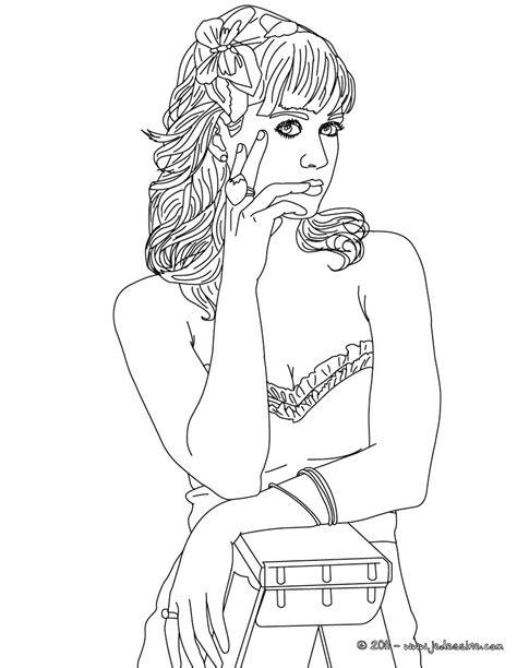 Coloriages Portrait Katy Perry Fleur Fr Hellokids Com