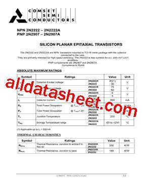 transistor datasheet 2n2222a 2n2222a datasheet pdf comset semiconductor