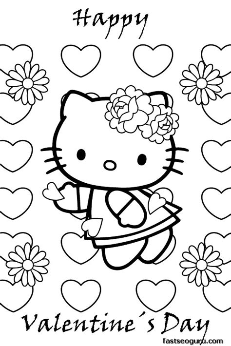 hello kitty coloring pages valentines day printable hello kitty happy valentines day coloring pages