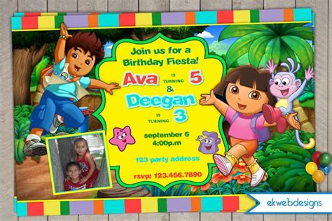 the explorer diego or joint birthday invitations