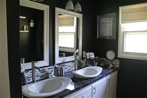 dark painted bathrooms remodelaholic black white painted bathroom remodel