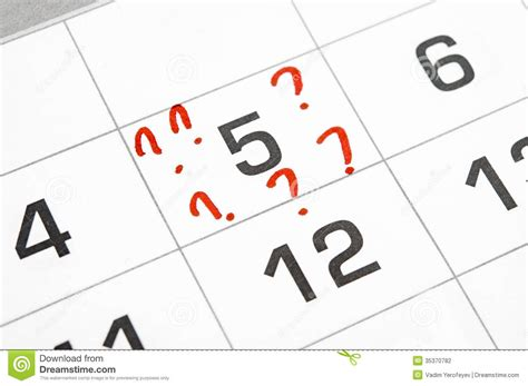 Calendar Questions Calendar With A Date Stock Photography Image 35370782