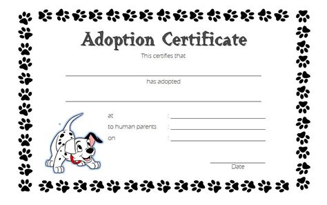 child adoption certificate template pet adoption certificate template 6 best 10 templates