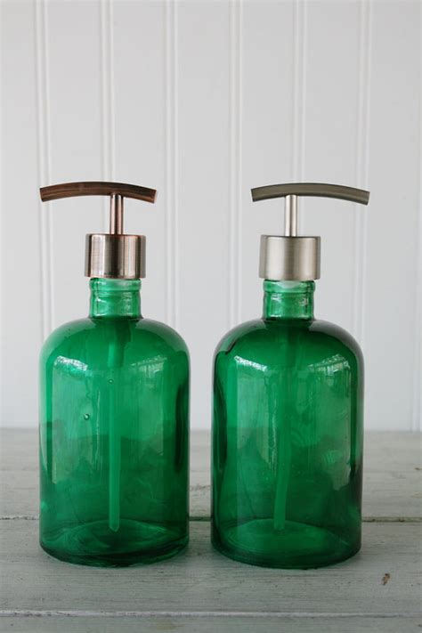 green glass bathroom accessories recycled glass soap dispenser emerald