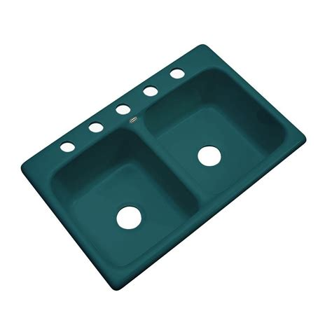 Thermocast Kitchen Sinks Thermocast Newport Drop In Acrylic 33 In 5 Basin Kitchen Sink In Teal 40541 The
