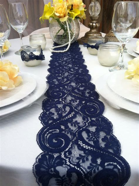 Navy Blue Table Runners Wedding navy blue lace table runner weddings decor 2 by