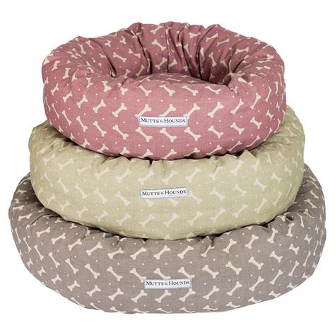 donut bed mutts hounds bone linen donut bed