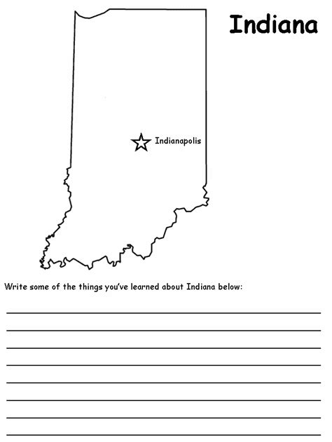 indiana state map coloring page indiana state map