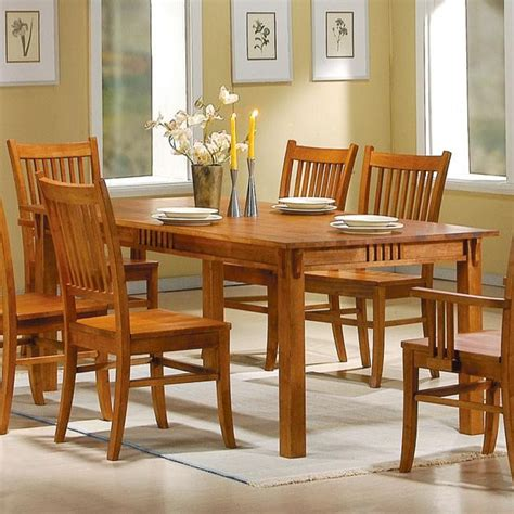 new solid wood dining kitchen table medium furniture light solid wood wooden brown finish mission dining table new