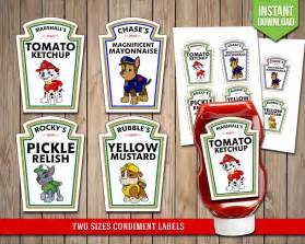 heinz label template paw patrol condiment labels mickey mouse condiments