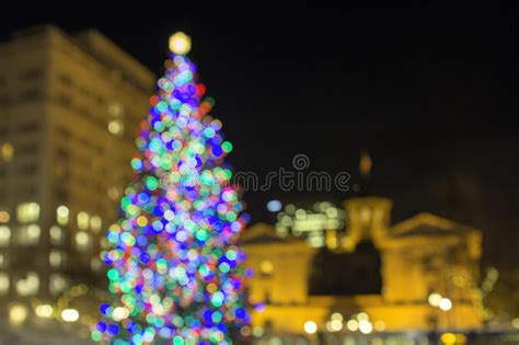 christmas tree lighting downtown portland or tree at pioneer courthouse square bokeh lights stock photo image of district