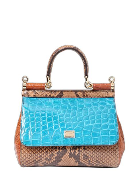 The Dolce Gabbana Small Carry by Dolce Gabbana Small Sicily Reptile Patchwork Bag Lyst