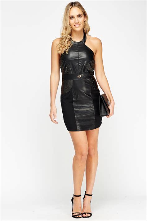 Mini Leather Dress faux leather front mini dress black just 163 5