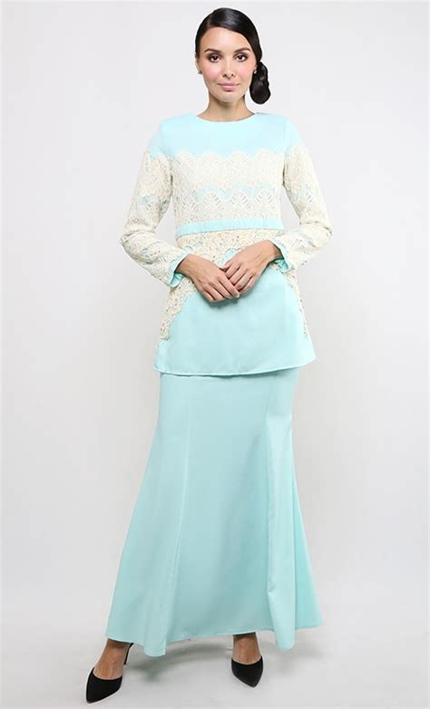 latest fashion baju kurung artis neelofa baju kurung modern patch lace in light blue fashionvalet