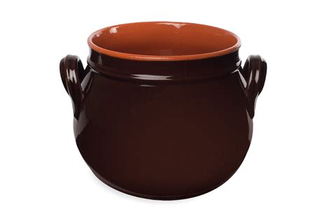 Handmade Terracotta Pots - handmade terracotta rounded pot with lid brown 20 cm