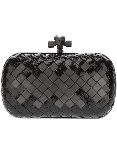 Bottega Veneta Intrec Capretto Knot Clutch In Black by Bottega Veneta The Knot Intrecciato Box Clutch In Black Lyst