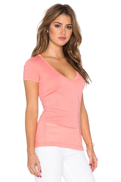 Cmb Vneck Dot Pink lyst three dots sleeve v neck in pink