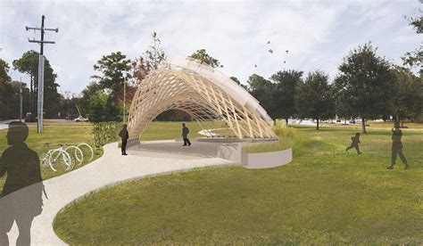 Pavillon Park by Gridshell Pavilion Coming To Camellia Boulevard