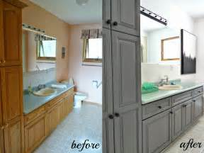 Before And After Bathroom Cabinets Painting Bathroom Cabinets Ideas Homeoofficee