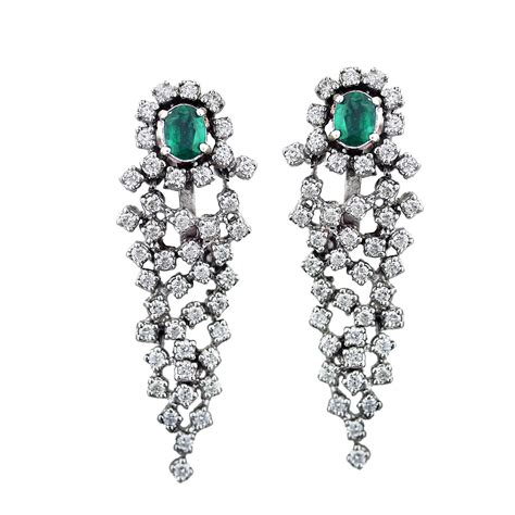 18k white gold emerald and earrings