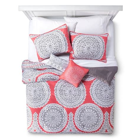 target coral bedding medallion gemma 5 piece comforter set coral queen