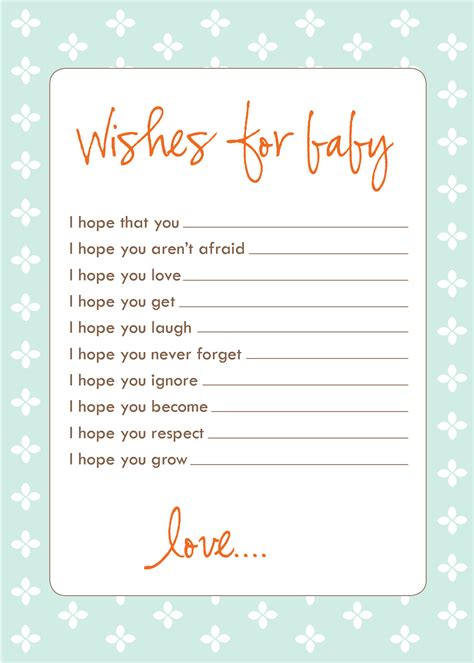 wishes for baby printable template freebie wish cards laurenmakes s weblog