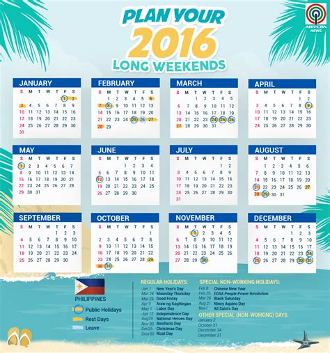 Infographic official list of 2016 philippine holidays the summit