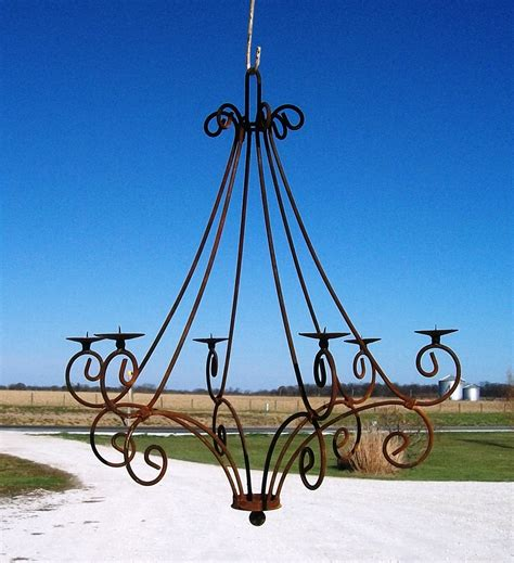 Outdoor Wrought Iron Chandelier Wrought Iron Teardrop Real Candle Chandelier