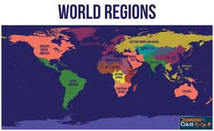 World Region Map by Dunnings Class Geography In Wh