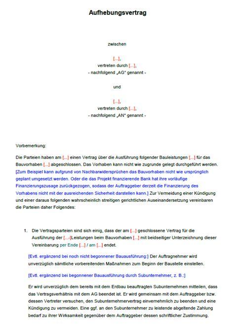 Vorlagen Aufhebungsvertrag Muster Aufhebungsvertrag F 252 R Bauvertr 228 Ge Zum Sofort