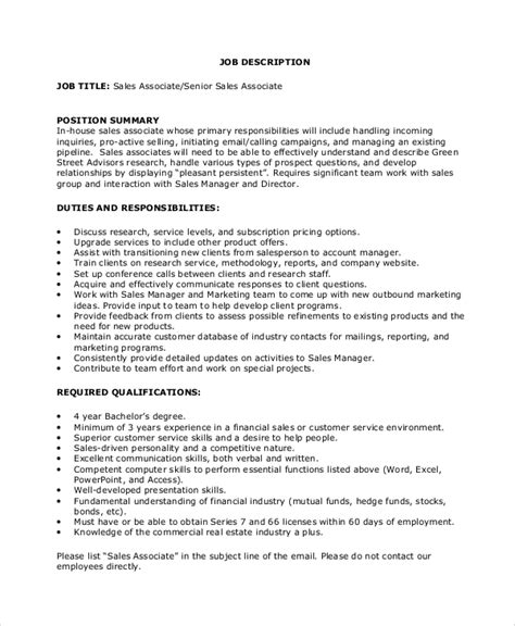 sle sales associate job description 9 exles in