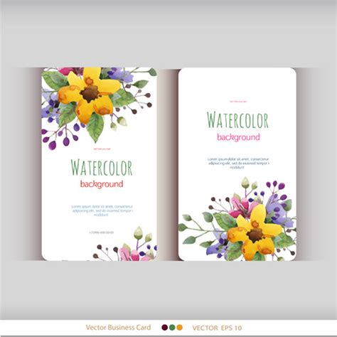 flower shop business card template free beautiful watercolor flower business cards vector set free