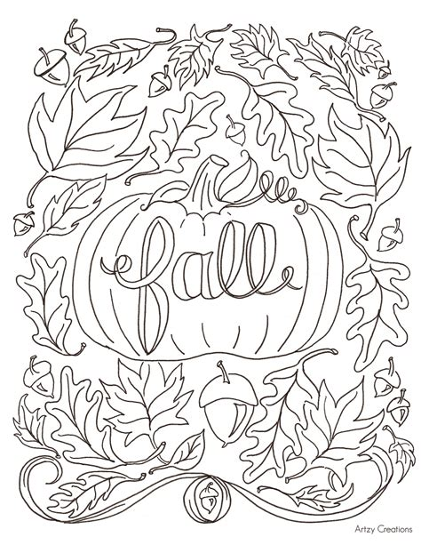 free printable fall themed coloring pages free fall coloring page artzycreations com