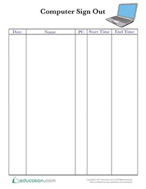 sign out sheets worksheet education