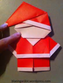 Simple Origami Santa Claus - origami santa clause and squares on
