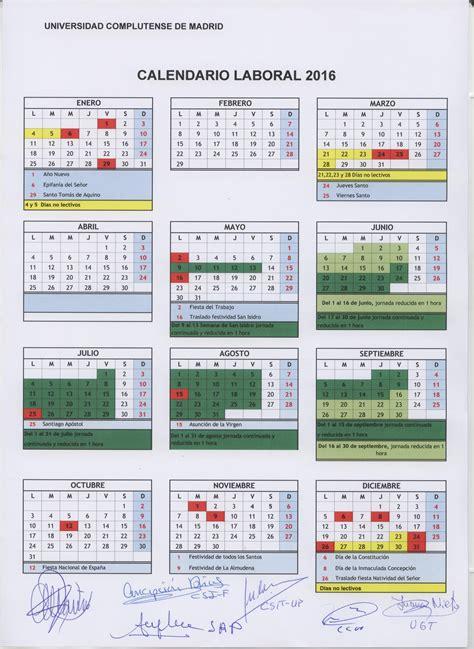 Calendario Escolar Ucm 2016 Calendario Escolar Y Laboral Fete Ugt Madrid