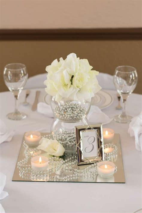 silver centerpieces for table white ivory silver wedding party ideas photo 1 of 6